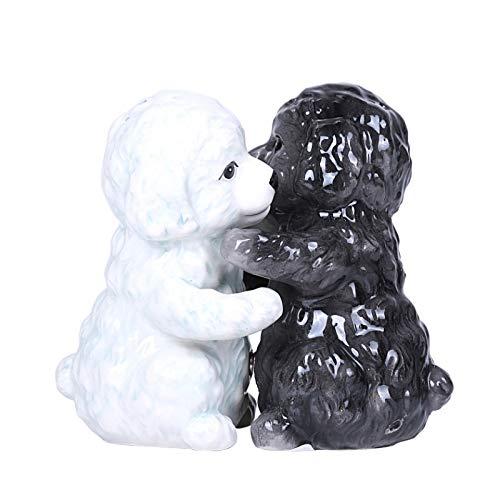 (Hugging Maltese Puppy Magnetic Ceramic Salt and Pepper Shakers Set)