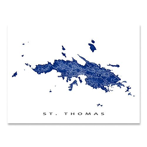 - St Thomas Map Art Print, US Virgin Islands, USVI, Caribbean Island Artwork