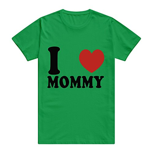 CUAUNED I Love Mommy T-shirt For Men - XXL KellyGreen Retro 100% Cotton KellyGreen T Shirts