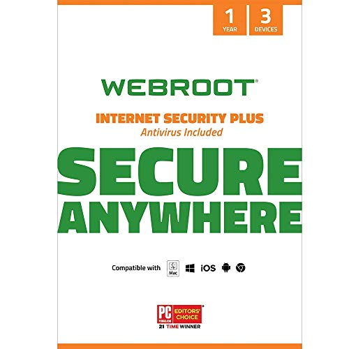 Webroot Internet Security Plus with Antivirus Protection Software | 3 Device | 1 Year Subscription | PC/Mac CD with…