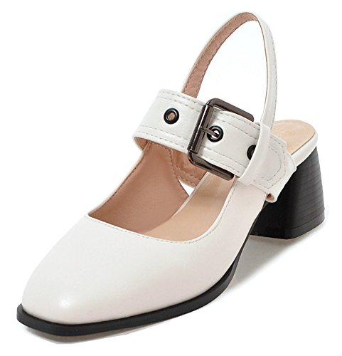 Strap Buckled Toe Medium Ankle Aisun Square Sandals Womens Comfort With White Stacked Heel Closed axaA0wqP