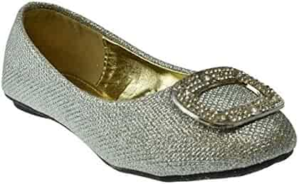49c78858c1a Sugar K Little Girls Rhinestone Shimmer Ballerina Ballet Slip on Flats  Silver
