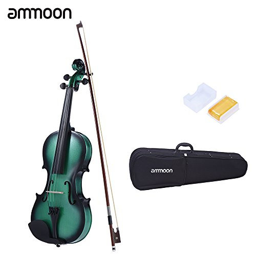 ammoon 4/4 Full Size Basswood Violin Maple Scroll Fingerboard Pegs Tailpiece with Rosin Bow Violin Case Gradient Color by ammoon