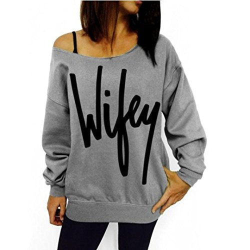 Laimeng, Women Womens Letter Print Loose Sweatshirt Casual Pullover Top (XL, Gray) (Type O Negative Summer Girl compare prices)