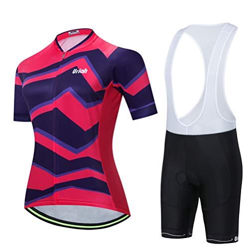 Uriah Women's Bicycle Jersey Bib Shorts White Set Reflective Short Sleeve with Rear Zippered Bag