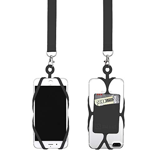 Gear Beast Universal Cell Phone Lanyard Compatible with iPhone, Galaxy & Most Smartphones Includes Web Phone Case Holder with Card Pocket, Soft Neck Strap with Breakaway Safety ()