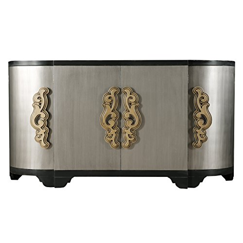 Two Tone Black and Silver Breakfront Four Door Credenza (Credenza Breakfront)