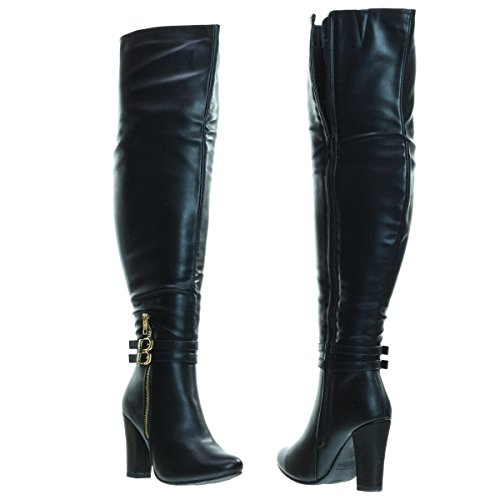 Top Moda Born1 Black Block Heel Over-The-Knee Dress Boots w Double Buckle -7 by Top Moda (Image #3)