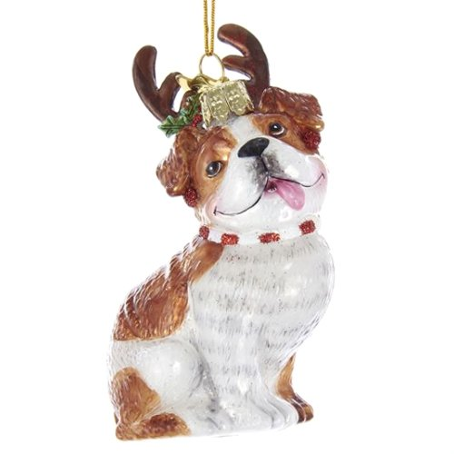 Noble Gems Bulldog with Antlers Glass Ornament