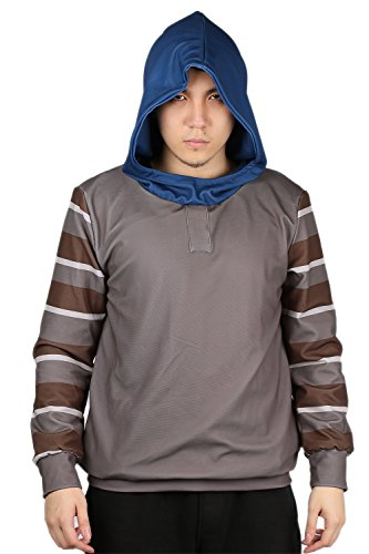 Xcoser Horrible Creepypasta Ticci Toby Cosplay Hoodie Unisex Gray Pullover Sweatshirt for Teenagers