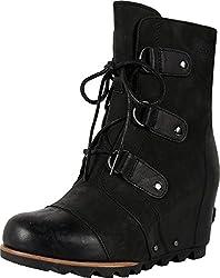 Sorel Women's Joan Of Arctic Wedge Booties, Black, 10 B(m) Us