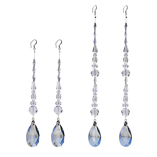 (Crystal Chandelier Ornaments Hanging Teardrop Pendant Chakra Suncatcher for Home,Office,Wedding Decoration (Mirage Blue))