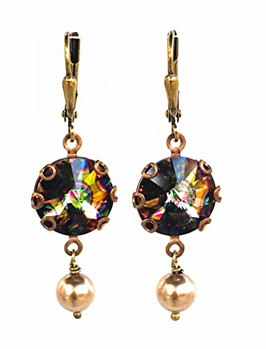 HisJewelsCreations Rivoli Crystal Simulated Pearl Round Stone Earrings (Peacock) (Nothing To Lose Your Love To Win)