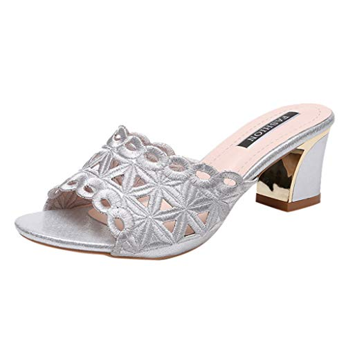 SMALLE_Shoes Slip On Heel for Women,SMALLE◕‿◕ Womens Low Heel Mules Slingback Open Toe Embroidery Hollow Heels Slide Sandals Silver