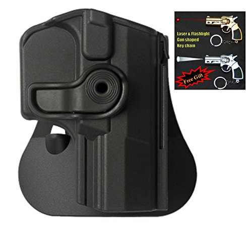 IMI-Z1350 - Polymer Retention Roto Holster for Walther P99, P99 As, P99C AS + Laser & Flashlight Gun Shaped Key Chain. (Black)