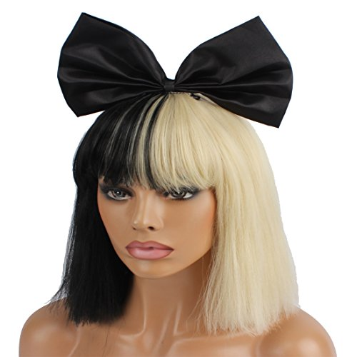 WeKen Cosplay Wig Women's Short Bob Kinky Straight Full Bangs Synthetic Black and Blonde Hair with a 25cm Small Black Bow]()