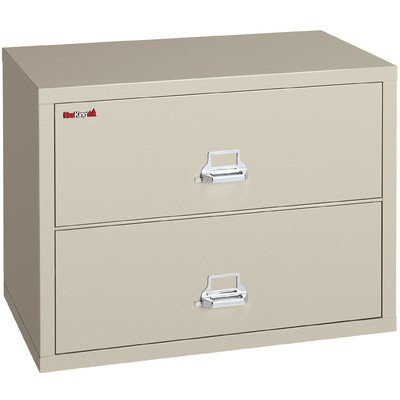 (Fireproof 2-Drawer Lateral File Finish: Parchment, Lock: Key Lock)