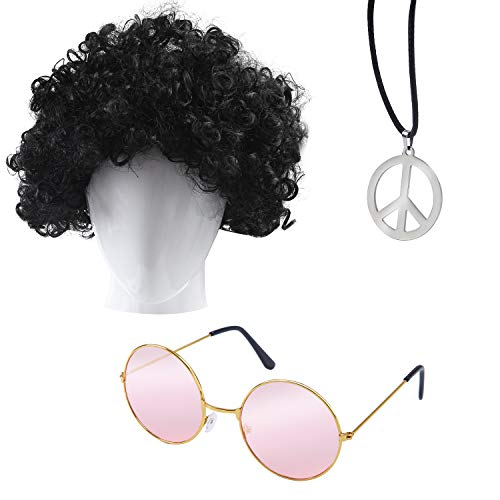 Elcoho 3 Pack Hippie Costume Set 60's Costumes Sunglasses Hippie Peace Medallion and Wig (Pink) -