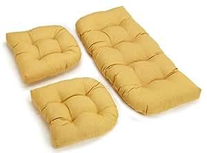3piezas mimbre sillas cojines (limón)