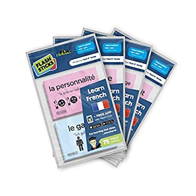 FlashSticks French Intermediate Post-it Notes Topic Pack Bundle (300 Words): Office Products
