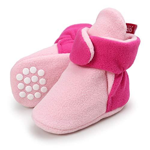 Sawimlgy US Baby Boys Girls Fleece Booties Non-Slip Bottom Winter Socks Shoes Unisex Pram Soft Sole First Birthday Gift (6-12 Months, B-Pink&Rose) ()