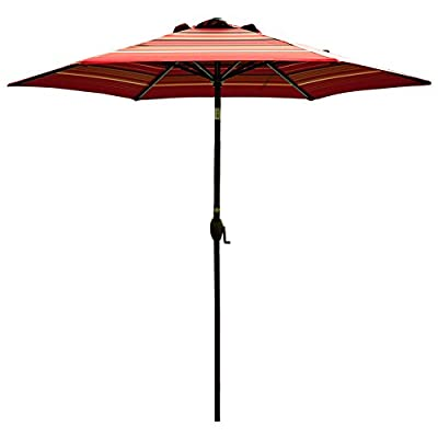 "Abba Patio Striped Patio 9-Feet Outdoor Market Table Umbrella with Push Button Tilt and Crank, 9', Red - 100% post-consumer recycled polyester fabric- fade resistant, water repellent, UV protection. Solution-dyed polyester tested for a minimum of 1000 hours UV colorfastness 9 ft. Diameter-shade your 42""- 54"" Round, square or rectangle table with 4 to 6 chairs, ideal for both residential and commercial spaces Rust- Free Powder Coated Aluminum Pole and Steel Ribs -1. 5"" diameter Aluminum pole provides superior strength support compared to the standard pole - shades-parasols, patio-furniture, patio - 41z1hlS3WoL. SS400  -"