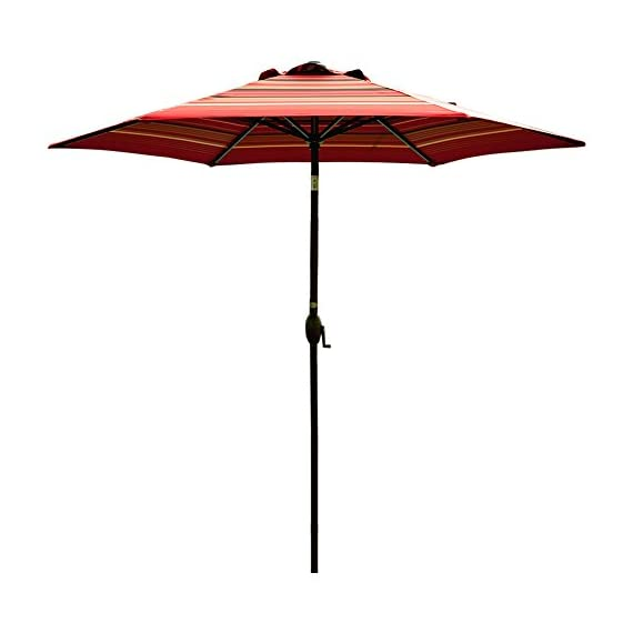 """Abba Patio Striped Patio 9-Feet Outdoor Market Table Umbrella with Push Button Tilt and Crank, 9', Red - 100% post-consumer recycled polyester fabric- fade resistant, water repellent, UV protection. Solution-dyed polyester tested for a minimum of 1000 hours UV colorfastness 9 ft. Diameter-shade your 42""""- 54"""" Round, square or rectangle table with 4 to 6 chairs, ideal for both residential and commercial spaces Rust- Free Powder Coated Aluminum Pole and Steel Ribs -1. 5"""" diameter Aluminum pole provides superior strength support compared to the standard pole - shades-parasols, patio-furniture, patio - 41z1hlS3WoL. SS570  -"""