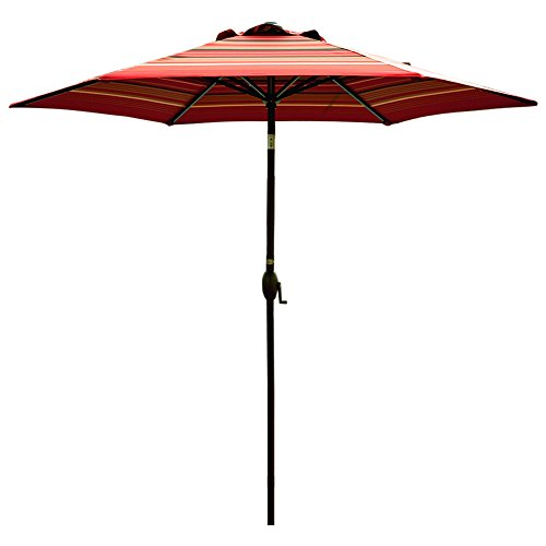 9' Outdoor Market Umbrella - Abba Patio Striped Patio Umbrella 9-Feet Outdoor Market Table Umbrella with Push Button Tilt and Crank, Red Striped