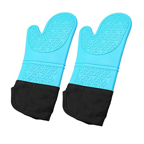 Oven Mitt Silicone Extra Long Heat Resistant Waterproof Non Slip Kitchen Gloves Blue 14.37 Inch 1 Pair