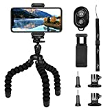 Tripod for Phone, PEYOU [5 in 1] Upgraded Sponge Lightweight Octopus Camera Tripod Stand + 2PCS Tripod Adapter for GoPro + Phone Mount Holder for iPhone XS/XS Max/X 8/8 Plus 7/7 Plus SE, Compatible for Samsung Galaxy S9/S9 Plus S8/S8 Plus Note 9/8/5, Other Phones Width Between 55mm - 85mm + Bluetooth Wireless Remote Control Shutter