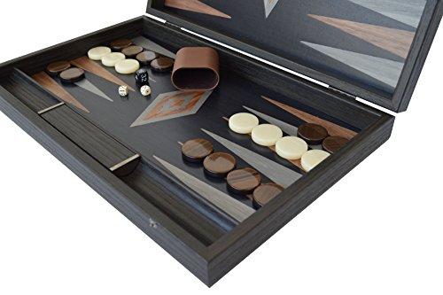 (Manopoulos Argento - Walnut Backgammon Set - Hand Made in Greece)