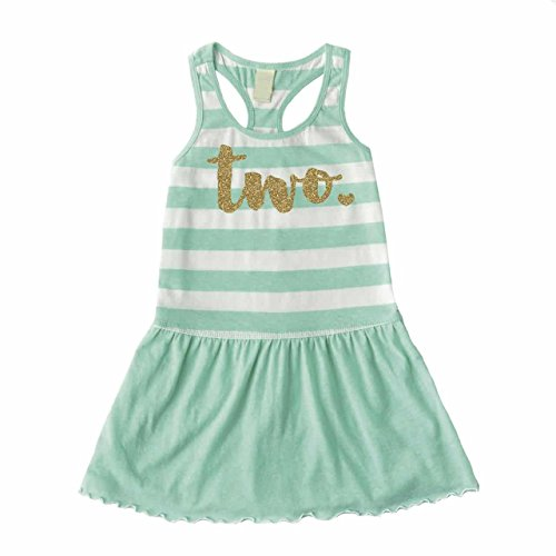 Bump and Beyond Designs Second Birthday Outfit Girl Two Year Old 2nd Birthday Summer Tank Dress (3T),Green by Bump and Beyond Designs