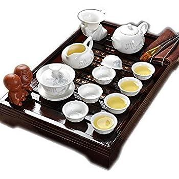 2 Dehua Porcelain Bamboo Tea Tray Ceramic Kung Fu Tea Set Tea Service