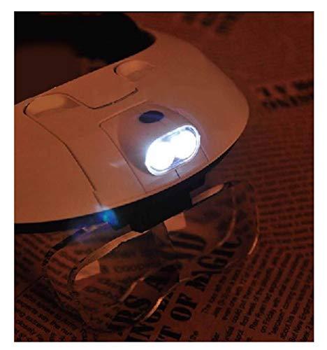 Lente multifunzione La doppia lampada a LED con lente di ingrandimento montata sulla testa pu/ò sostituire la manutenzione degli occhiali da lettura Adatto per lanziano o ipovedente lettura pai