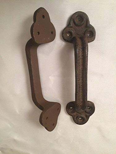 LuxMart Gate Barn Door Pull Handle Rustic Brown Cast Iron 9'' (Set of Two) 0170S-05124
