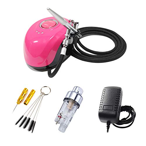 HUBEST Professional Mini Airbrush Compressor Kit with 0.4mm 2cc Dual Action Spray Gun Airbrush for Beauty Makeup, Temporary Tattoos,Crafts, Nail Art, Cake Decoration, Spray Model
