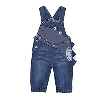 BABYPEP Baby and Little Boys/Girls Jeans Jumpsuit Embroidered Cartoon Soft Denim Overalls Strap - Blue - 3-6 Months