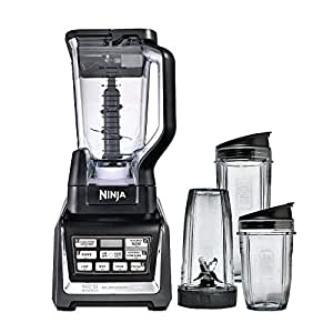 Nutri Ninja BL-642 Blender with Auto-LQ XL 72-ounce and 3 Nutri Ninja Cups (18-oz, 24-oz, 32-oz), 1500 W - Black/Grey