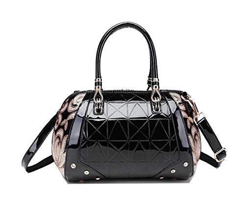 - Yan Show Women's Patent Leather Sequin Embroidery Handbag Boston Bag Shoulder Bag Fashion Top Handle Bag Purse (Black)