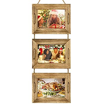 DLQuarts Collage Hanging Picture Photo Frame 5 x 7, 3-Frame Set On Hanging Rope, Rustic Solid Wood Photo Frame Carbonized Black, Best Gift Choice