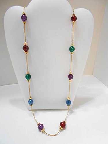 Generic _Gorgeous_ retro style gold chain necklace pendant _colored_beaded_ long _section_of_the_ classic _lady_style