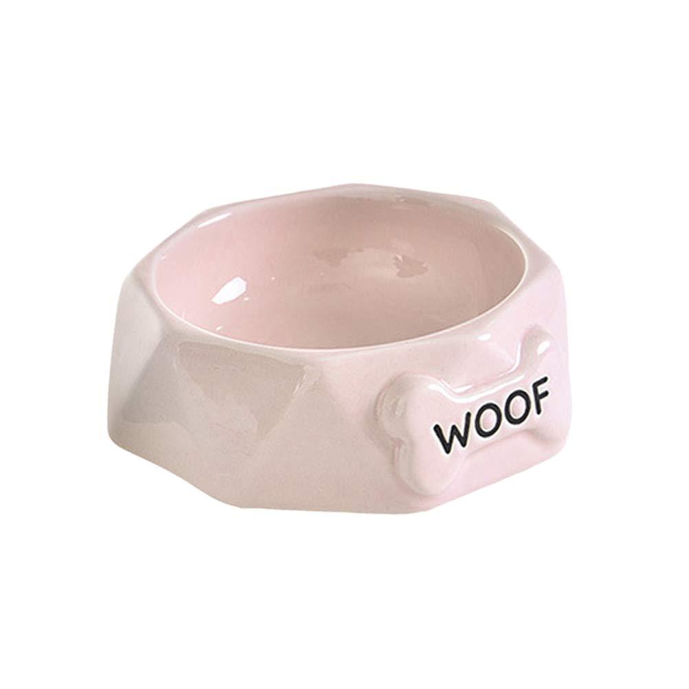 POPETPOP Ceramic Pet Bowl Bone Shaped Creative Food Drinking Bowl Dog Dish for Pet Dog Cat (Pink)