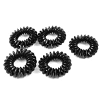 Black Elastic Coiled Hair Band Ponytail Holder for Woman 5 PCS