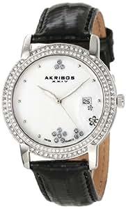 Akribos XXIV Women's AK555BK Swiss Quartz Crystal Mother-Of-Pearl Strap Watch