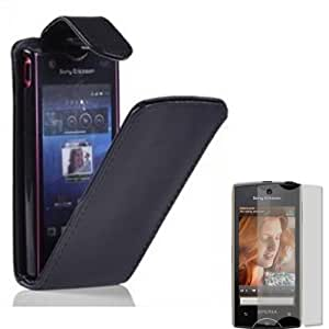 Voltear Concha Caso Cubrir Y Protector De Pantalla Para Sony Ericsson Xperia Ray / Black