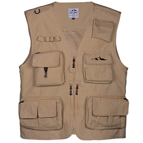 Fly Fishing Photography Climbing Vest with 16 Pockets made with Lightweight Mesh Fabric for Travel, Sports, Hiking, Bird Watching, River Guide Adventures, Safaris and Hunting. (Khaki, XXXX-Large)