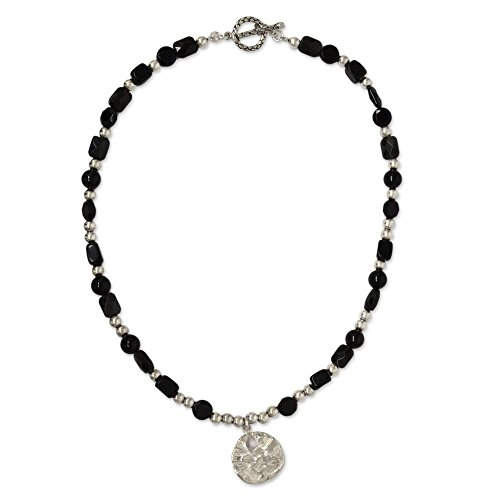NOVICA Onyx .925 Sterling Silver Beaded Necklace, 17.75