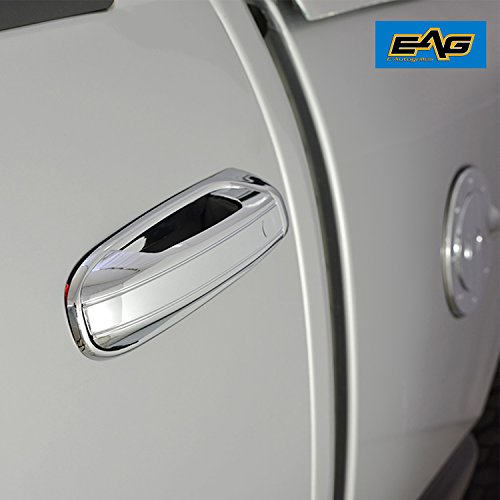 EAG Chrome ABS 4 Door Handle Cover W/O PSG Key Hole for 02-08 Dodge Ram 1500/03-09 Dodge Ram 2500/3500 / 05-10 Dodge Dakota / 04-10 Dodge Durango / 02-07 Jeep Liberty / 99-04 Jeep Grand Cherokee
