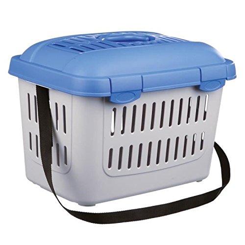 Trixie 3979 Midi-Capri Transportbox, 44 × 33 × 32 cm, blau/silber