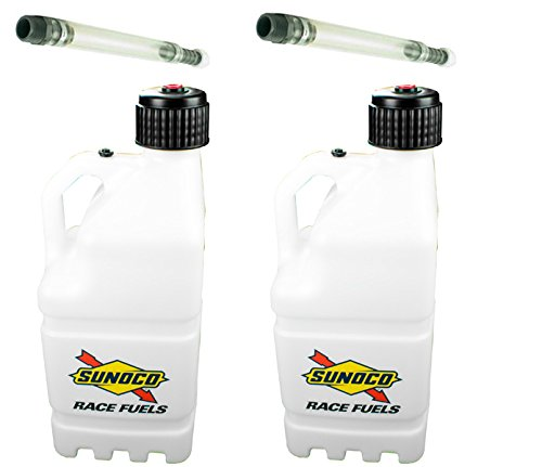 2 Pack Sunoco 5 Gallon Clear Race Utility Jugs and 2 Deluxe Filler Hoses ()